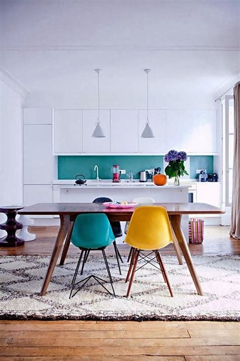 colorful kitchen chairs great colorful dining room and kitchen with eames chairs