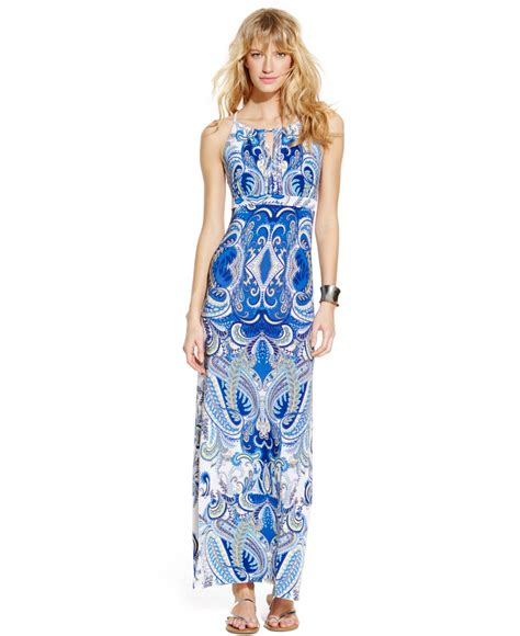 Inc International Concepts Printed Beaded Halter Maxi