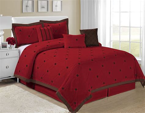 Brown Queen Comforter Sets Homechoice 7 Piece Kaysha Embroidered Checker Comforter