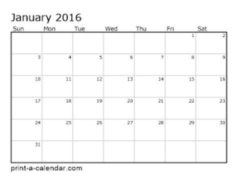 2016 Calendar By Month 2016 Printable Calendars