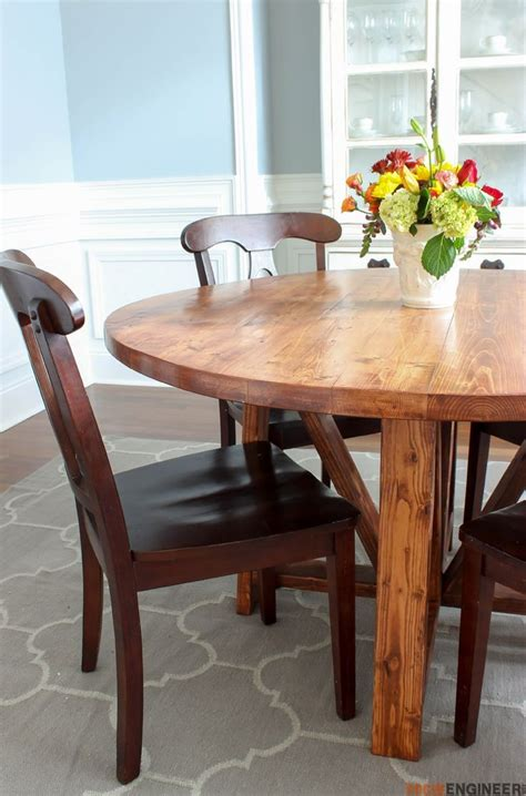plans for dining room table round trestle dining table free diy plans rogueengineer com roundtrestlediningtable
