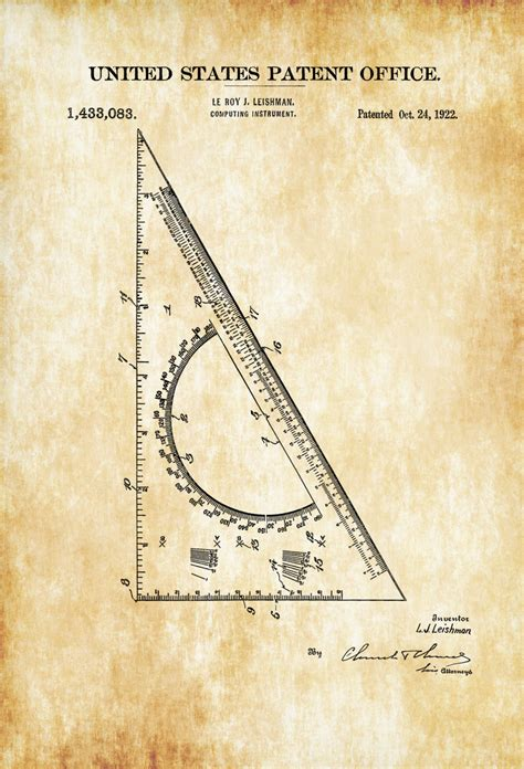 architecture drawing tool drafting triangle patent 1922 patent print wall decor