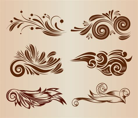 design elements flowers vintage swirl