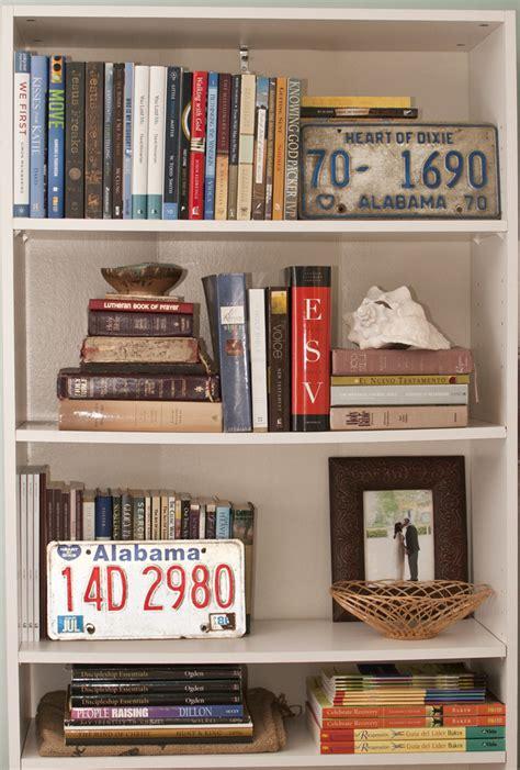 how to style a bookshelf honeysuckle