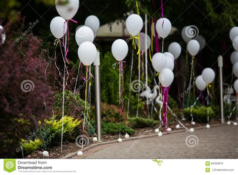 Wedding Aisle Balloons by And Decorated Path To Wedding Aisle With White