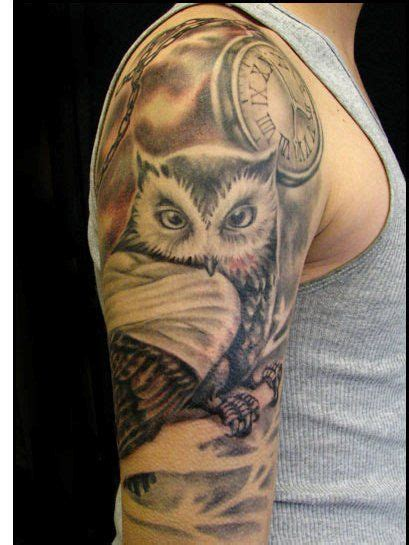 quarter sleeve owl tattoo owl clock tattoo designs clock and owl tattoos on half