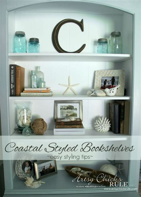 coastal style decorating ideas coastal styled bookshelves how to style shelves artsy