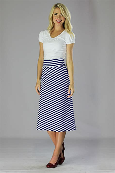 modest midi skirts in navy and white stripes