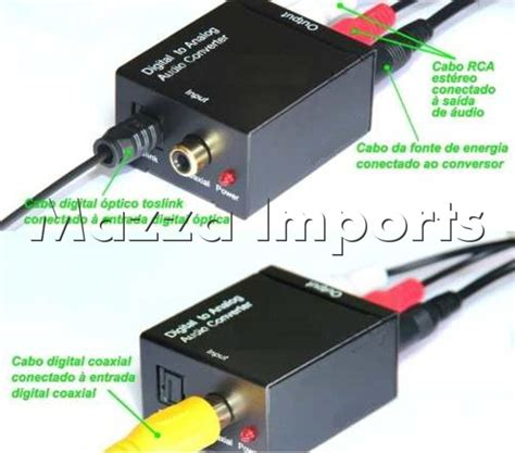 adaptador de audio toslink digital  rca cabo optico