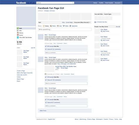 free facebook page psd for user interface