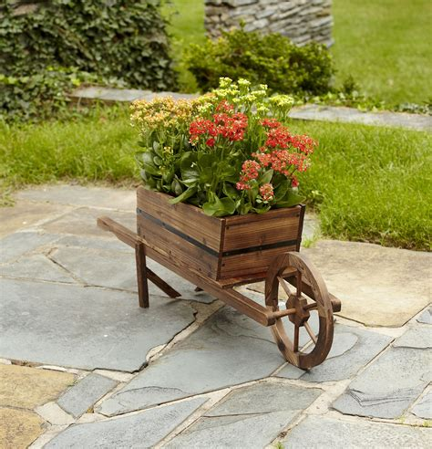 garden oasis wood wheelbarrow planter