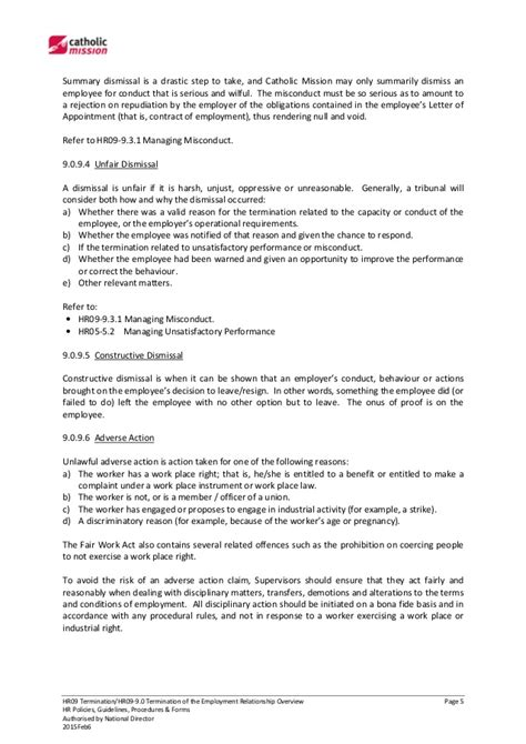 Letter Of Non Repudiation Agreement Hr09 9 0 Termination Of The Employment Relationship Overview