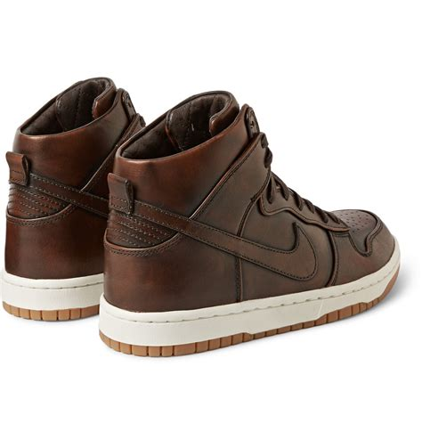 nike lab dunk high sp burnished leather sneakers in brown