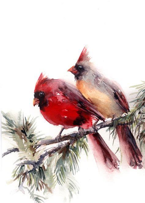 original watercolor painting northern cardinals couple