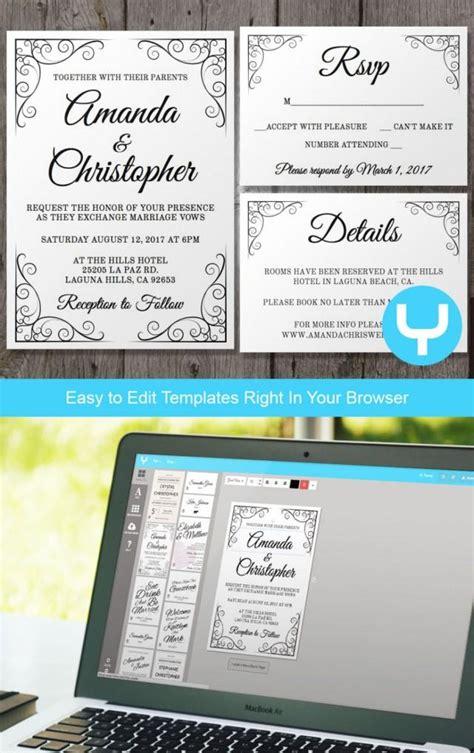 printable wedding invitations app vintage printable wedding invitation rsvp template you