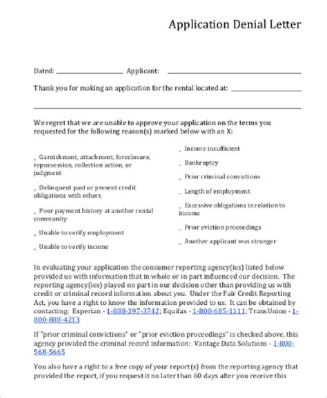 Lease Decline Letter sle rental application 10 exles in pdf word