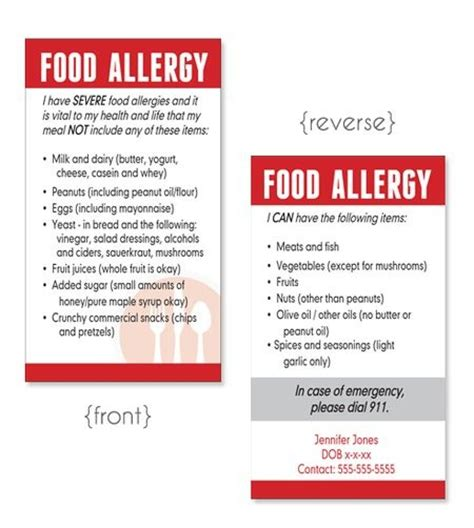 Allergy Card Template by Allergy Cards Fully Customizable Gaps Recipes