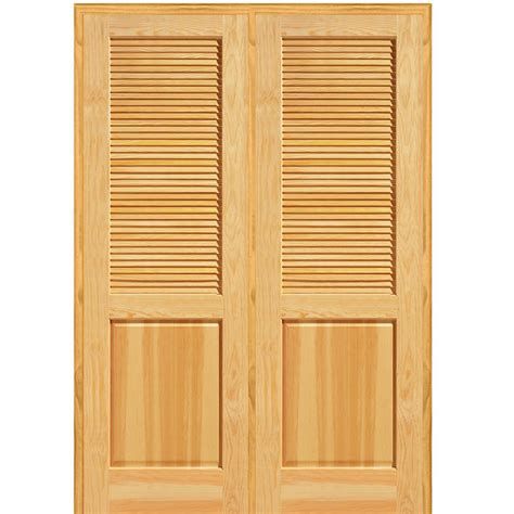 false louvered interior doors mmi door 62 in x 81 75 in unfinished pine half louver 1