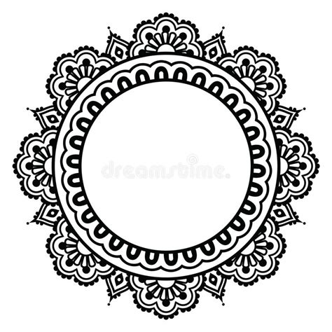 indian henna floral tattoo round pattern mehndi stock