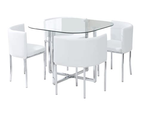 glass dining table with chairs algarve glass stowaway dining table with white high back