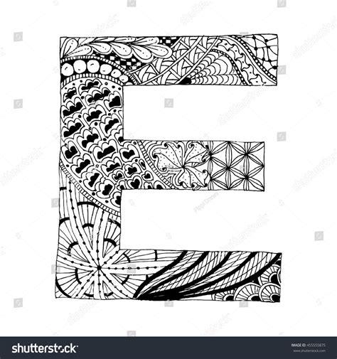 doodle e zentangle stylized alphabet letter e doodle stock vector