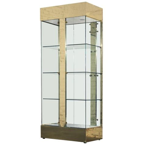 vitrine modern vintage modern brass and glass lighted display vitrine