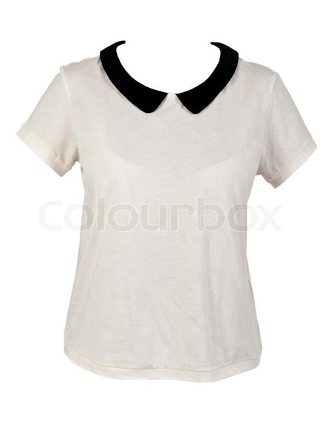 19643 Blouse Blackwhite s shirt with black collar isolated on a white background stock photo colourbox