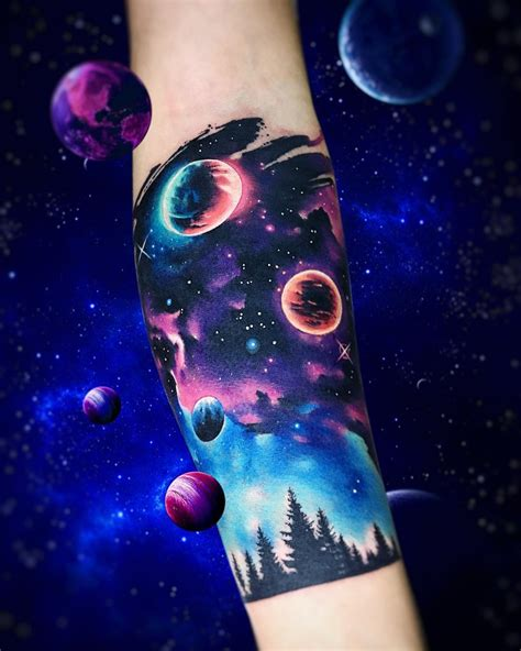 galaxy half sleeve by adrian bascur tattoos