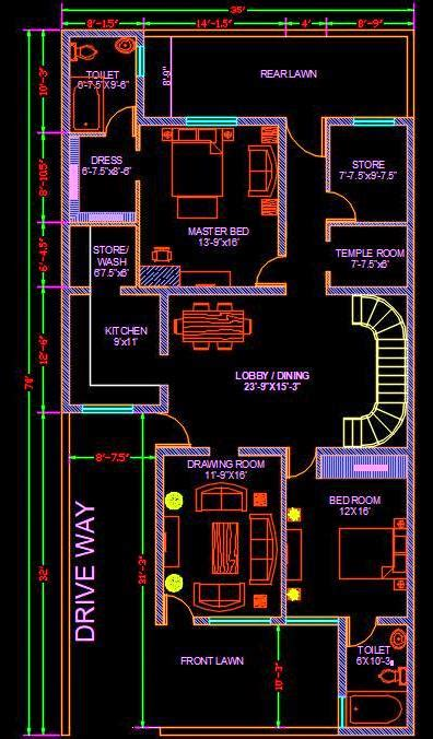 house architectural space planning floor layout plan