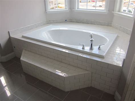 grouting bathtub the master tub with white subway tile surround gray