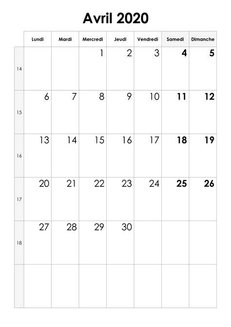 calendrier avril  calendriersu
