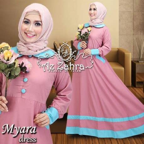 Dress Basic Kancing Brown myara dusty pink baju muslim gamis modern