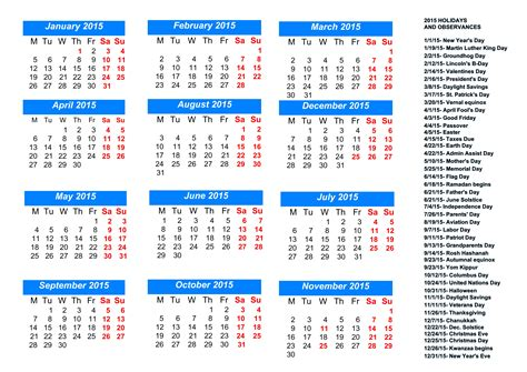 2015 monthly calendar template with holidays 8 best images of free printable calendar with holidays