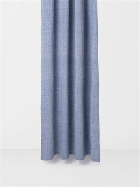 blue chambray curtains chambray shower curtain blue ferm living