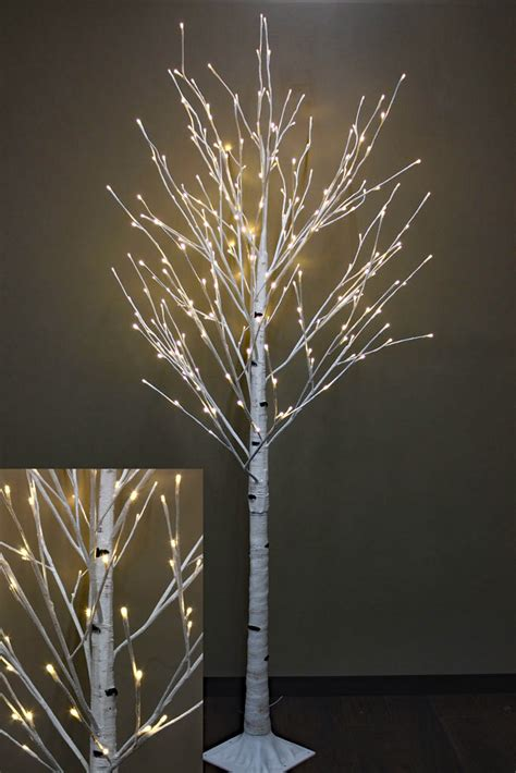 7 Foot White Birch Tree 240 Warm White Led S From The Led Lighted Tree