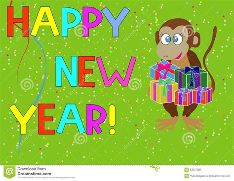 new year monkey gifts the monkey with gifts for the new year stock vector