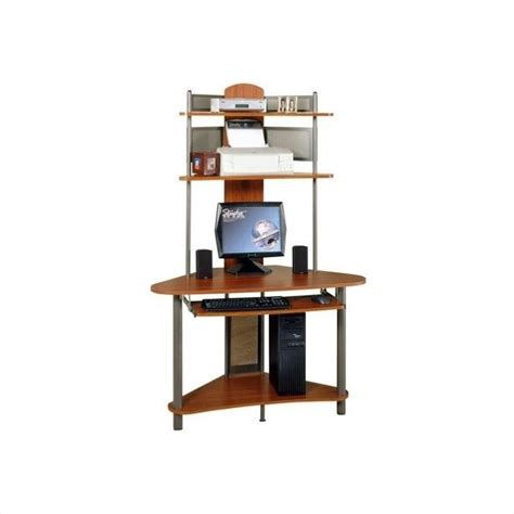 corner computer desk tower studio rta a tower corner wood w hutch pewter cherry