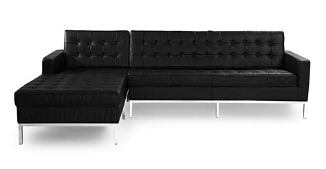 100 genuine leather sectional florence knoll style sofa sectional left black 100