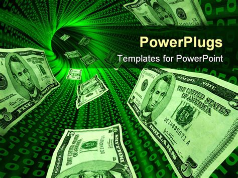powerpoint template money bills flowing through a tunnel