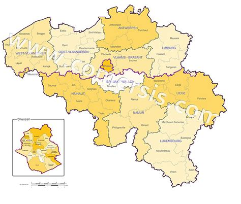 belgium provinces map vector map of the regions provinces and districts of belgium