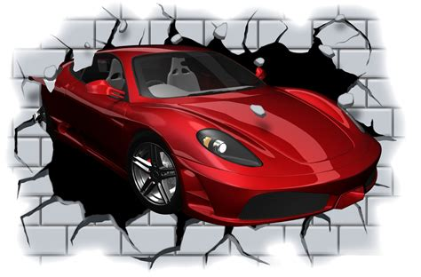 Huge Wall Murals huge 3d sports car crashing through wall view wall sticker