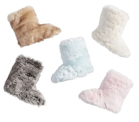 pottery barn slippers kid faux fur slippers pottery barn