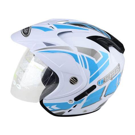 Helm Ink Half Putih Jual Wto Helmet Impressive Visor Vegas Putih Biru