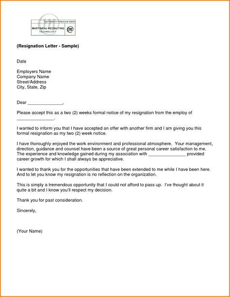 Resignation Letter Sle For Finance 9 Formal 2 Weeks Notice Letter Financial Statement Form