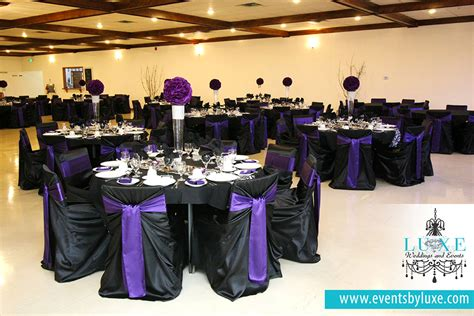 black white purple wedding theme