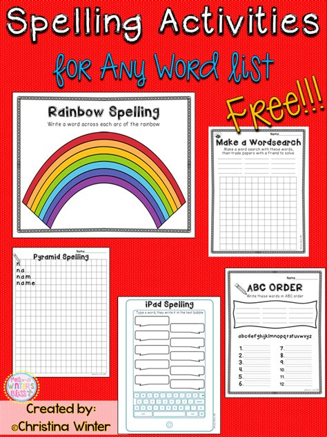 Spelling Of by Spelling Activities A Freebie Mrs Winter S Bliss