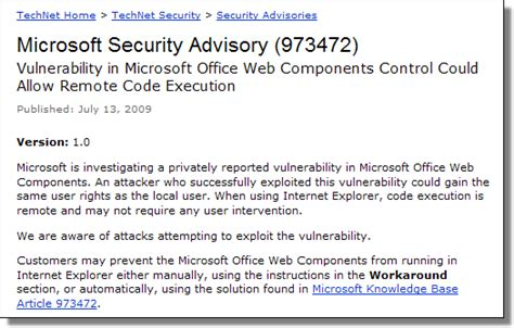 microsoft microsoft security advisory update for news from the lab archive january 2004 to september 2015