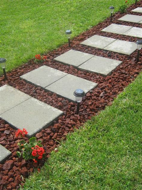 pathway ideas diy paver rock walkway diy homedecor decor decorate