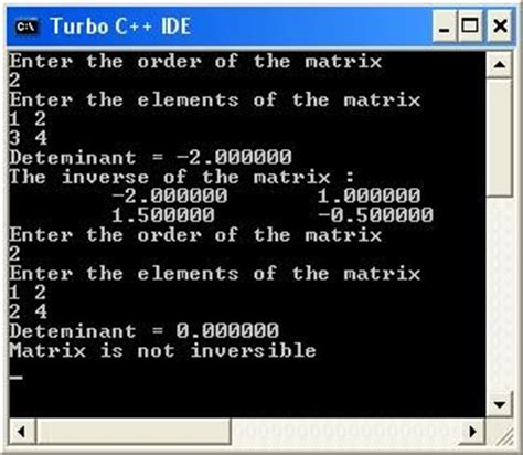c program to find the determinant and inverse of two