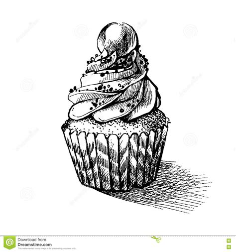 Food Drawing Pen Pencil Makanan Harga vector black and white sketch illustration of sweet cupcake can be used for